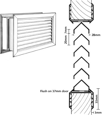 Door Grille Diagram and Dimensions